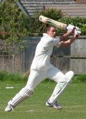 Lourens Herselman of Pymoor CC played a fine innings, scoring 60, in Pymoor's opening match of the season against Littleport CC, 2010.