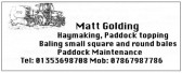 An advertisment in the Parish Magazine placed by Matthew Golding of Straight Furlong, Pymoor.