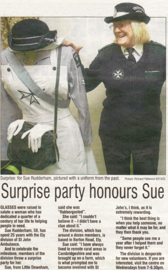 Article in the Ely Weekly News about a surprise party given for Sue Rudderham of Pymoor celbrating 25 years service with St John's Ambulance Brigade.