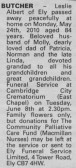 Notice in the Ely Standard announcing the death of Leslie Butcher, aged 84, of Pymoor.