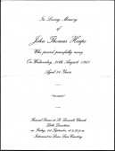 Funeral notice for John Thomas Heaps of Pymoor, who passed away on Wednesday 30th August 1961, aged 84 years.