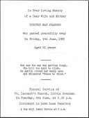 Funeral notice for Dorothy May Pearson of Pymoor, who passed away on Friday 5th June 1959, aged 61 years.