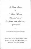 Funeral card for Lillian Brown of Pymoor, who passed away on 19th March 1962 aged 77 years.