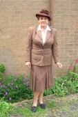Christine Saberton dressed in wartime clothing for the D-Day Celebration Tea at the Chapel in Main St. Pymoor 2010.