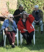 Joan Saberton & Kathleen Lark watch the prize giving at the 16th Annual Charity Fishing Match at Oxlode Lakes, Oxlode, Pymoor 2010.