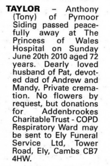 Obituary notice in the Ely Standard advising of the passing of Tony Taylor of Pymoor Sidings, Pymoor.