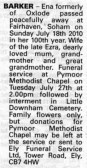 Notice in the Ely Standard announcing the passing of Ena Barker of Oxlode & Pymoor.