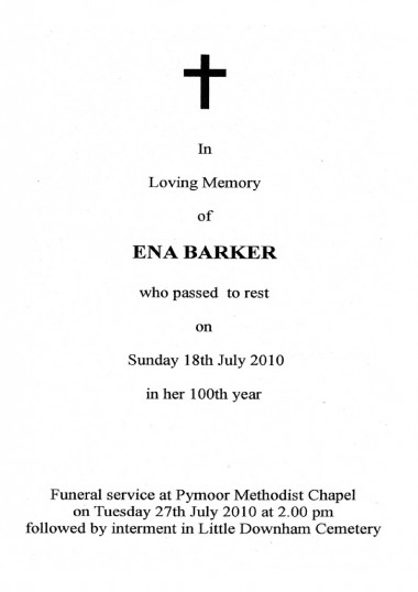Service sheet for the funeral of Ena Barker of Oxlode & Pymoor who passed to rest on Sunday 18th July 2010 in her 100th year.