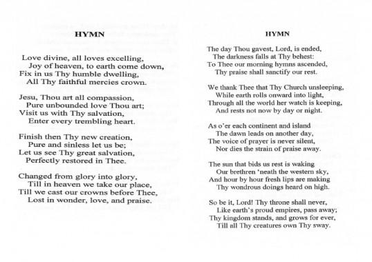 Hymns sung at the funeral of Ena Barker of Oxlode & Pymoor at the Pymoor Methodist Chapel, Main Street Pymoor.