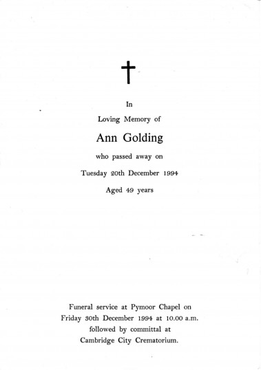 Service Sheet for the funeral of Ann Golding of Pymoor who passed away on Tuesday 20th December aged 49 years.