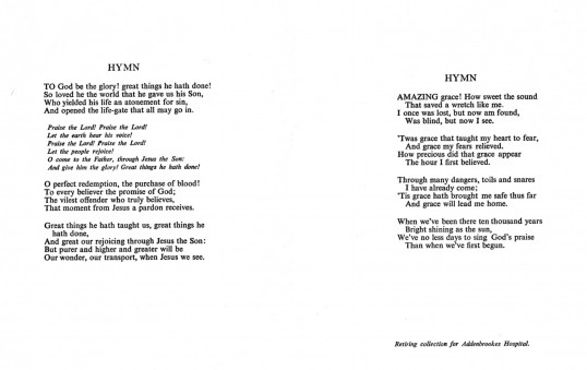 Hymns sung at the funeral of Ann Golding of Pymoor who passed away on the 20th December.