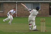 Ooh so close! Pymoor CC captain Steve Saberton sees his ball narrowly miss the Witcham batsman's wicket 2010.