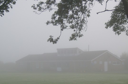 Autumn has arrived. Pymoor Cricket Club, Pymoor Lane, Pymoor, in the early morning mist. A precursor to a beautiful sunny day, 2010.