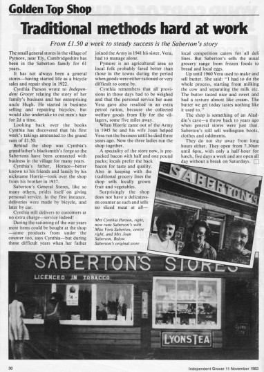 Article in the Independent Grocer magazine about Saberton Stores in Main Street, Pymoor.