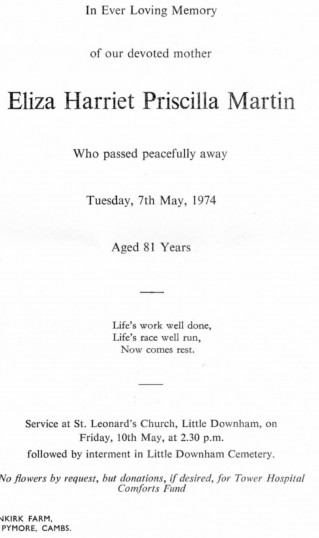 Funeral Notice for Eliza Harriet Priscilla Martin, of Pymoor, who passed away on 7th May 1974 aged 81 years.