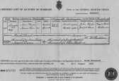 Mariage Certificate of Moses Heaps & Maria Dann who lived in Oxlode, Pymoor, 1873.