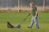 Michael Saberton scarifying the cricket square at the Pymoor Cricket Club in Pymoor Lane, in preparation for the coming season, 2011