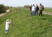 Rosemary Davis photographs some of the walkers on the 100 Foot Bank near 'Manderlay', Oxlode, Pymoor 2011.