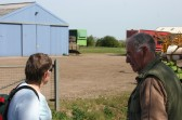 Inger Van Ogtrop & Robert Starling reach Lane Farm in Pymoor Lane, on the Pymoor & Oxlode Walk 2011.