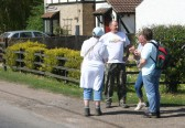 Rosemary Davis & Inger Van Ogtrop chat to Mike & Val Tatton outside the Old Mill in Pymoor Lane, Pymoor on the Pymoor & Oxlode Walk 2011.