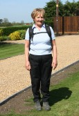 Pam Golding, who lead the Pymoor & Oxlode Walk arrives back at her home in Pymoor Lane, Pymoor 2011.