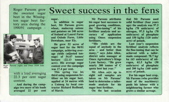 Article in 'analysis' an OMEX Agriculture publication about the high sugar content of the Beet grown by Pymoor farmer Roger Parson.