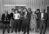 Prize giving at the Domino Dinner held at the Pymoor Cricket & Social Club, Pymoor Lane, Pymoor, 1986.
