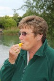 Cynthia Parson blows the whistle to end the Oxlode Lakes Charity Fishing Match, Pymoor 2011.