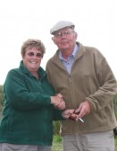 Cynthia Parson presents the 3rd Place award to Ray Ayres at the Oxlode Lakes Charity Fishing Match, Pymoor 2011.