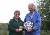 Cynthia Parson presents the winners trophy to Tony Rudderham at the Oxlode Lakes Charity Fishing Match, Pymoor 2011.
