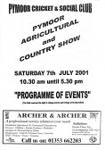 Programme of Events for the Pymoor Show 2001.