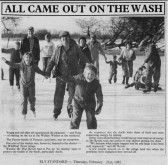 Article in the Ely Standard about skating on the Welney Washes. The Parson family of Pymoor are in the foreground, 1985.