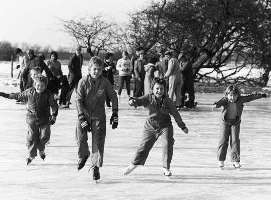 Pymoor Children Skating on the Washes 1985
