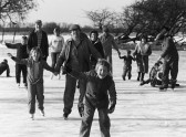 Pymoor children skating on the frozen Welney Washes 1985.