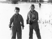 Dale Parson, aged 11 & Richard Taylor, aged 12, both from Pymoor, skating on the frozen Welney Washes 1985.