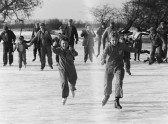 Pymoor villagers skating on the frozen Welney Washes 1985.
