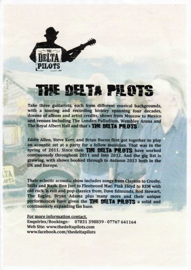 Advertising leaflet for the Delta Pilots. Brian Bacon, who lives at Pymoor Sidings, Pymoor, is a member of the group.