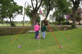 Rosemary Davis & Cynthia Parson with the Maypole in Joan Saberton's garden in Pymoor Lane, Pymoor,put up to celebrate HM Queen's Diamond Jubilee 2012.