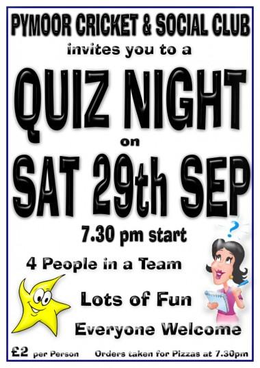 Gary Palmer hosted a very enjoyable Quiz Night at the Pymoor Cricket & Social Club, Pymoor Lane, Pymoor 2012.