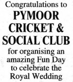 Notice in the Ely Standard congratulating Pymoor Cricket & Social Club for organising the Royal Wedding Fun Day on 29th April 2011.