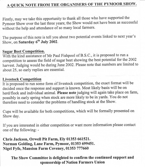 Note from the organisers of the Pymoor Show about Sugar Beet & Livestock compettions to be held in June 2002.