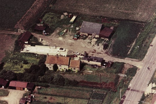 Aerial photograph of Denmark House, Straight Furlong, Pymoor, 1971.