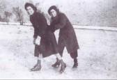 Ida Sulman (nee Saberton) and Vera Saberton ice skating in Pymoor 1940.