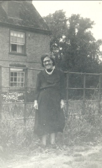 Eva Hannah outside Oxlode Hall, Pymoor.