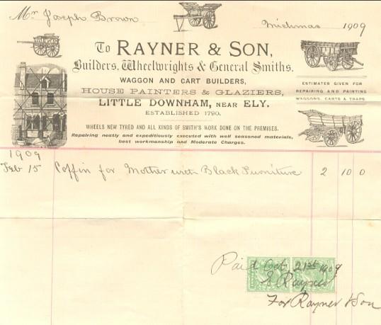 Bill of sale for coffin, Pymoor, 1909