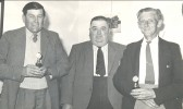 Ezra Barker, Reg Parson and Jack Bell in Pymoor, circa 1960.