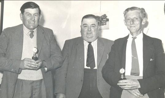 Ezra Barker, Reg Parson and Jack Bell in Pymoor, circa 1960.