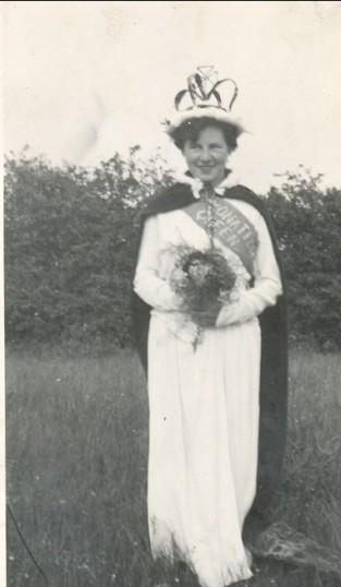 Treenie Barker, the 'May Queen' of Pymoor (circa 1953).