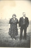 Conrad (Con) and Daisy Priscilla Harrison on Waddlow Farm, Pymoor, circa 1940