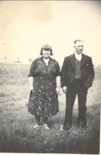 Conrad (Con) and Daisy Priscilla Harrison on Waddlow Farm, Pymoor, circa 1940